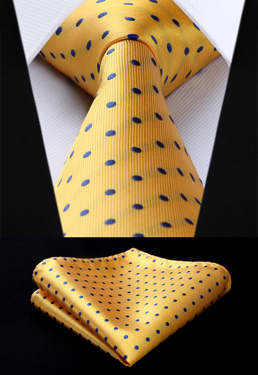 "TD607Y8S Yellow Blue Polka Dot 3.4"" Silk Tie Party Wedding Handkerchief Set Woven Classic Men Tie Necktie"
