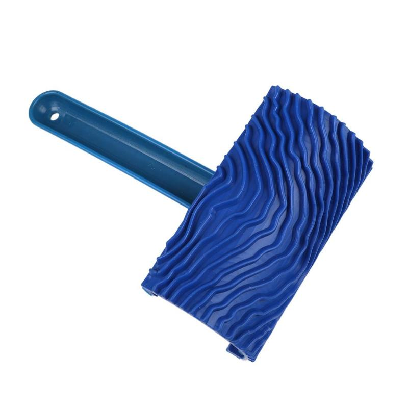 New Blue Rubber Wood Grain Paint Roller Brush DIY Graining Wall Painting Tool With Handle Wall Texture Art Painting Roller