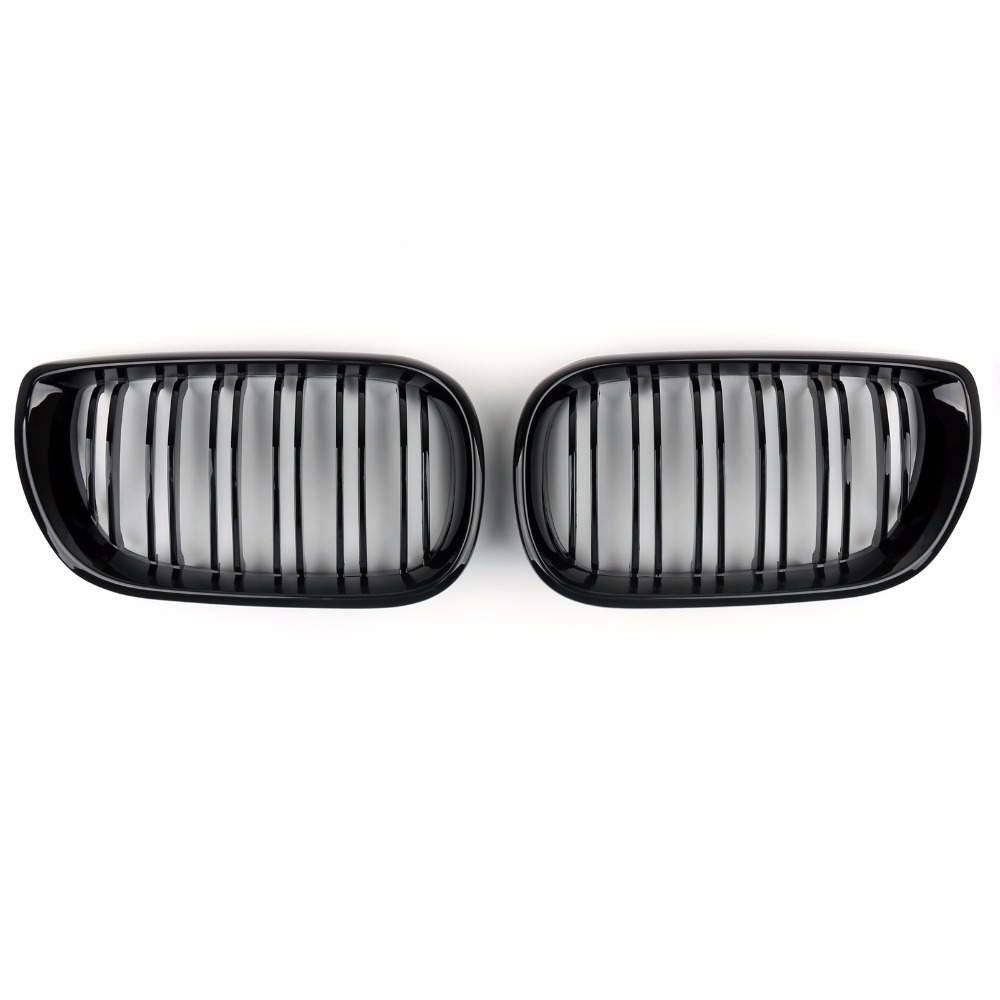 Areyourshop Car For BMW Front Kidney Grille Double Rib Gloss Black For BMW E46 4 DOOR 4D 3 Series 2002-2005 Car Auto Styling car front bumper mesh grille around trim racing grills 2013 2016 for ford ecosport quality stainless steel