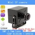 Wde ângulo da câmera ip H.264 onvif lente olho de peixe grau p2p180 mini câmera ip poe 720 P hd para a segurança interior + 1.7mm Lente 5MP