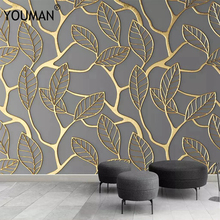 купить 3d HD modern custom photo wallpaper abstract home background wall mural gold watercolor forest wallpaper for living room bedroom по цене 1406.18 рублей