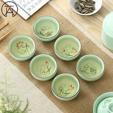 Чашка для чая кунг-фу, ручная роспись, чайный горшок пуэр, завязанная чайная чаша, контейнер для хранения чая, чайный набор, пакетик
