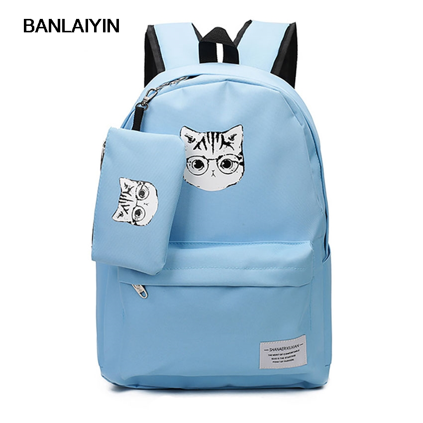1 PCs Composite Bag Women Canvas Print Cute Cat Backpacks High School Bags For Teenagers Students