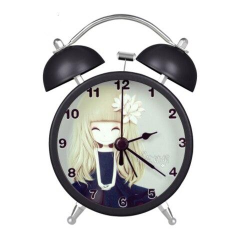 Lovely Carton Girls printings Alarm Clocks Mini Silent Students Alarm Clocks with Backlight Simple Children Table Alarm Clocks