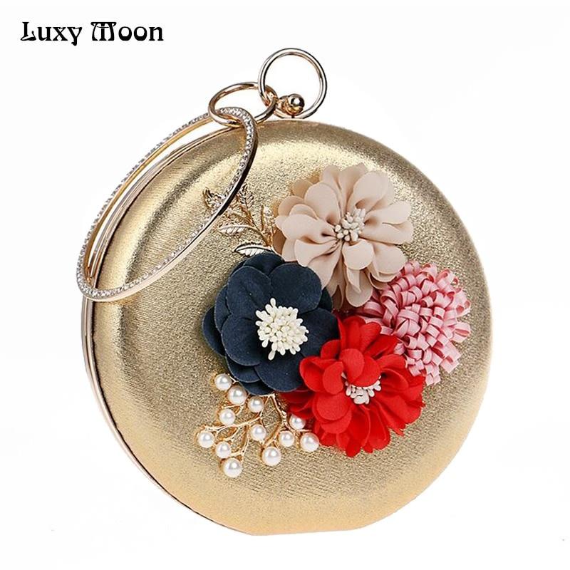Luxy moon vintage lady floral de noche bolsa de mujer de la flor del banquete de