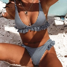 0c1740c324 Bikinx Plaid ruffle bikinis 2019 mujer biquini Thong sexy swimsuit plus  size bathing suit v-