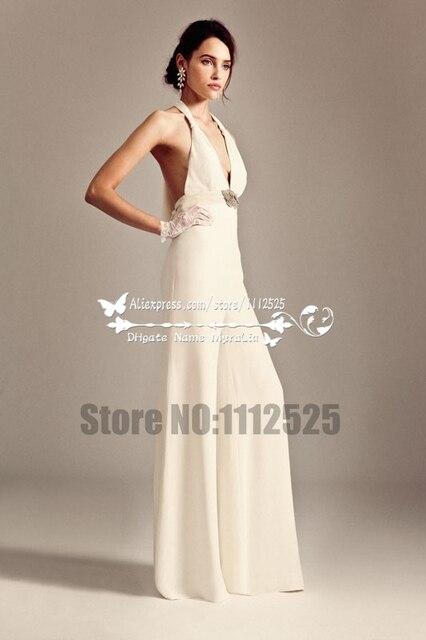66ac724439cb AWP-1077 sexy decollete da sposa tute in chiffon pantaloni per matrimonio  sulla spiaggia