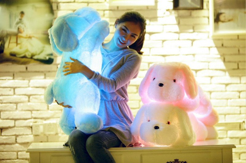 80CM Creative toy Cute Inductive dog nightlight plush toy LED glow pillow soft light up stuff toy dog pet quality creative flip book page led nightlight
