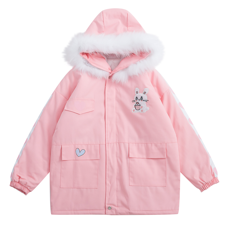 Winter Japanese Lolita Thicken Bear Jacket Hooded Coat Women Preppy Style Sweet