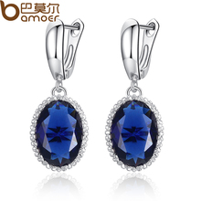 BAMOER Luxury White Gold Plated Drop Earrings for Women Elegant Blue Stone Female Earrings Jewelry Engagement Accessories YIE105