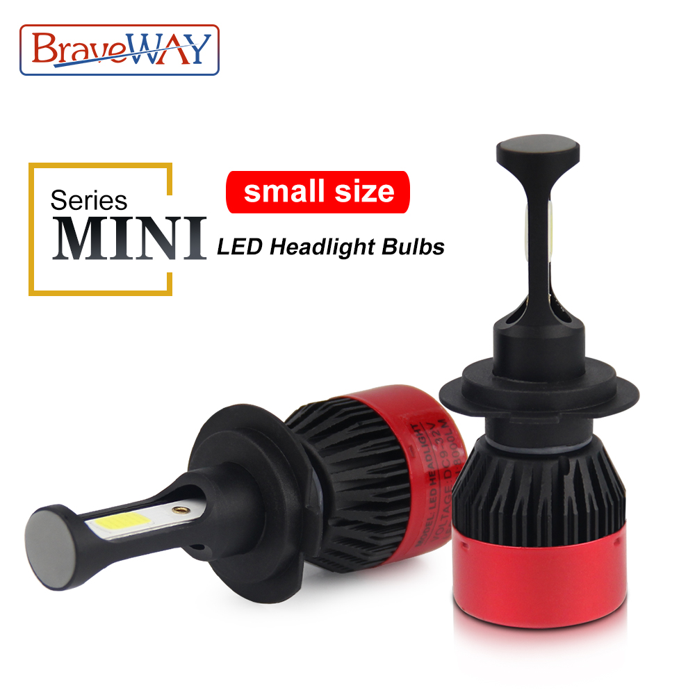 BraveWay Mini Led Bulbs for Cars Headlight Ice Lamp H4 Small Size Led 9005/HB3 9006/HB4 H11 H7 Led Light for Skoda Kia Hyundai