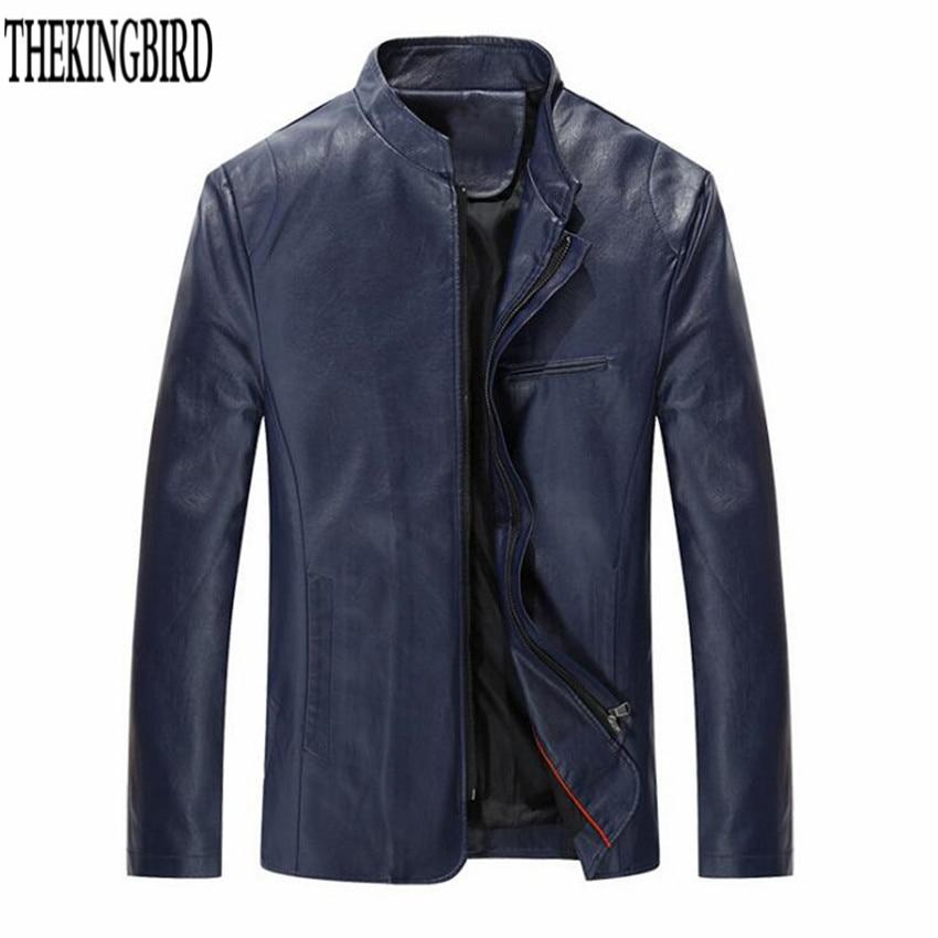 Hombres chaqueta de cuero con cremallera Negro Primavera / otoño - Ropa de hombre - foto 5