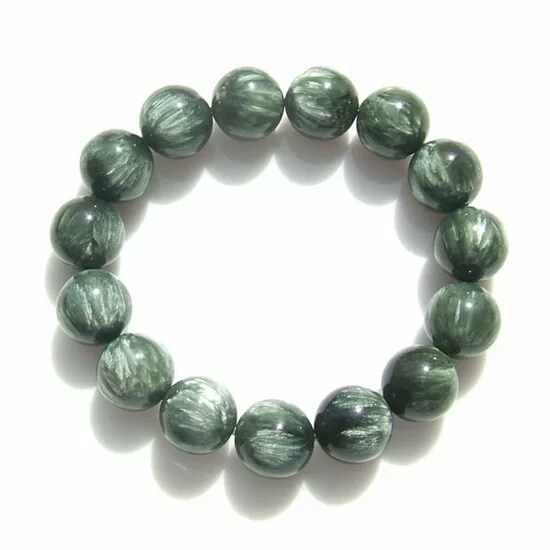 Genuine Green Seraphinite Natural Stone Crystal Round Beads 14mm Women Mens Stretch Bracelets natural green phantom crystal 10mm semi everlast crystal beads diy bracelets 40 cm string