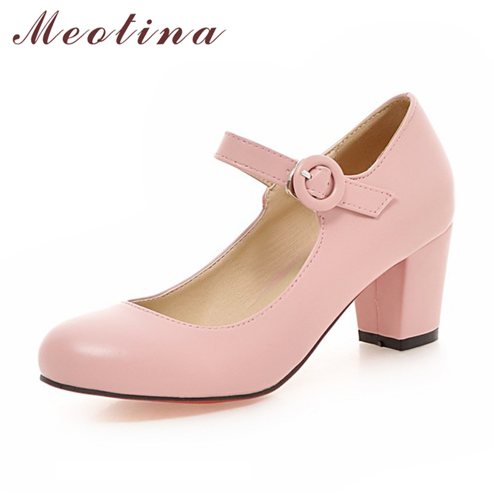 Meotina Women Shoes Mary Jane Ladies High Heels Vita Bröllopsskor Vår Tjocka Heel Pumps Skor Svart Rosa Plus Storlek 43 9 10