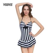 fba8c204ad8b1 YCDYZ Skirted Swimsuit Black white Striped One Piece Push Up Swimwear 2018  Dress Large Size Skirt Bathing Suit Beach Wear Dress