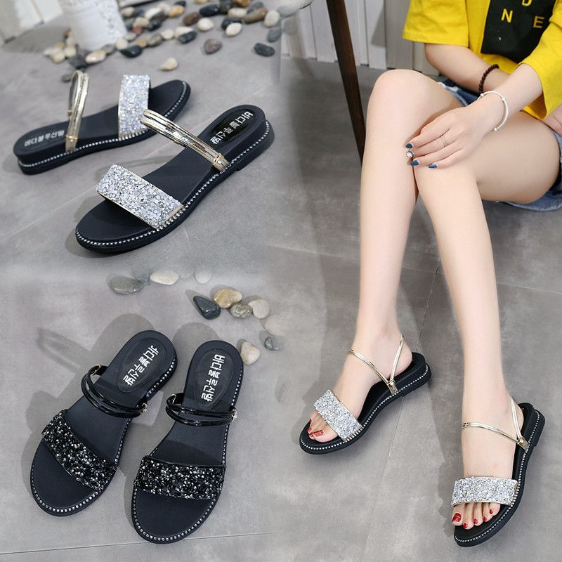 2019 summer new student flat bottom rhinestone beach sandals ladies sandals(China)