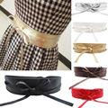 Da Menina Das Mulheres do sexo feminino Cinto Largo de Couro Macio Auto Tie Wrap Around Faixa Da Cintura Cinto Vestido