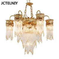 New Luxury Copper Crystal Chandelier Fashion French Stair Copper Crystal Lighting Fitting For The Living Room