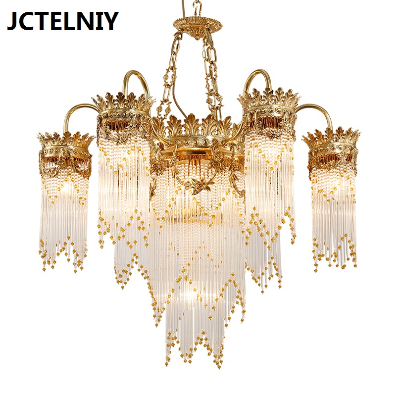 novi luksuzni bakreni kristalni luster modni francuski stubišta - Unutarnja rasvjeta