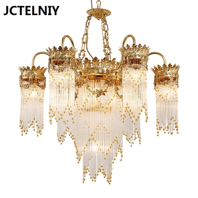New Luxury Copper Crystal Chandelier Fashion French Stair Lighting Ing For The Living Room