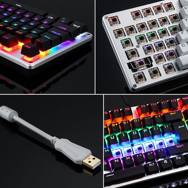 Backlit Gaming Genuine Mechanical Keyboard Anti-ghosting Luminous LED Metal Wired Russian sticker 3
