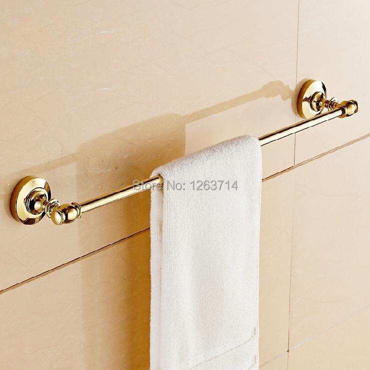 Free Shipping Fashion Wall Mounted Single Brass Towel Bar Golden Finish Bathroom Towel Rack Towel Hanger  OG-25824C стоимость