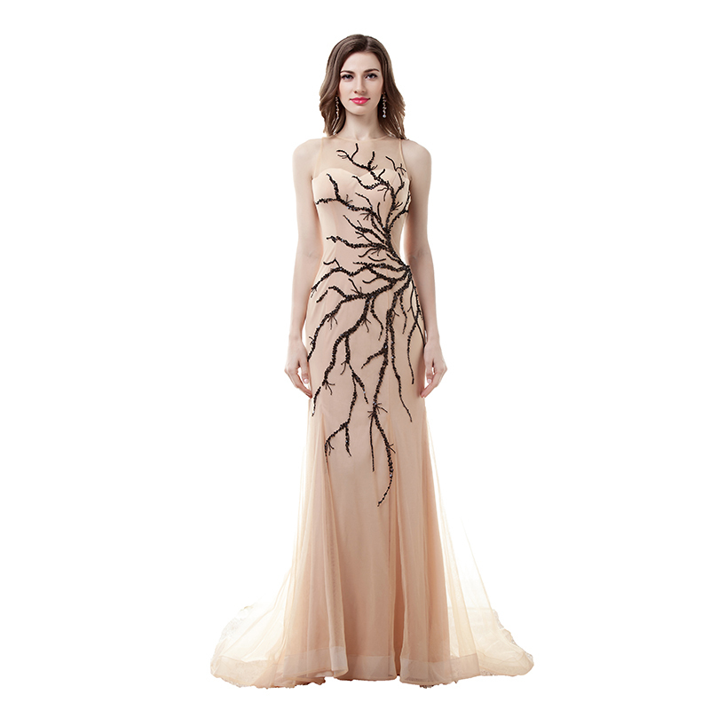 Actual Photos Long Evening Dresses Sexy Sheer Illusion Top Neck Sequins Sleeveless Formal Party Gown Plus Size