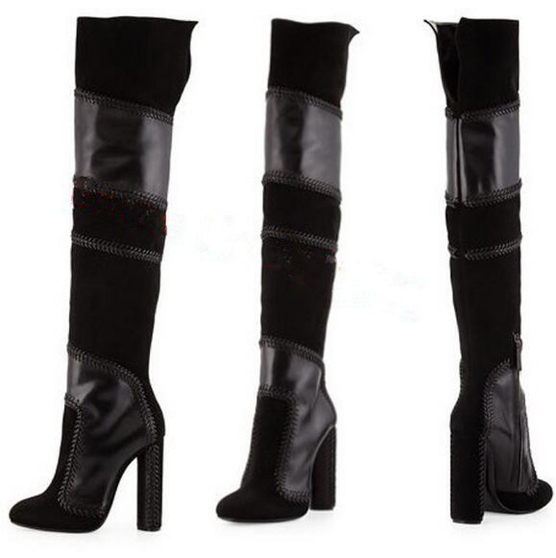 Free Shipping New Women Knee High Boots Sexy High Heels Spring Autumn Shoes Round Toe Suede Leather Platform Women Boots