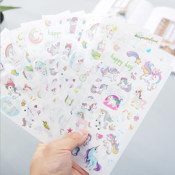 6 Sets/Lot Kawaii Cartoon Unicorn Notebook Planner Stickers For Kids Scrapbooking Sticker Decorative Sticker Escolar Stationery