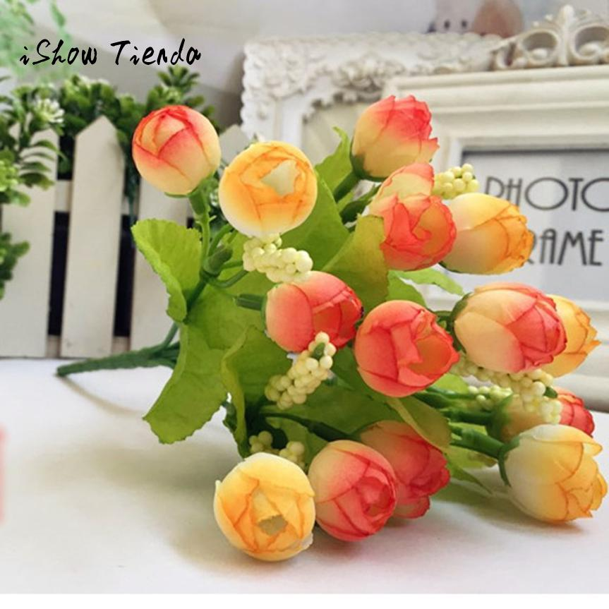 Ishowtienda 15 leaf heads unusual flor artificial for Artificial flowers for home decoration online