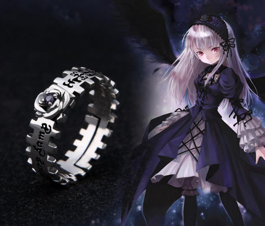 Anime Rozen Maiden 925 Sterling Silver Rose Ring Mercury Lamp Sui gin tou Cosplay Gift Jewelry Props Gift Punk Gothic Style