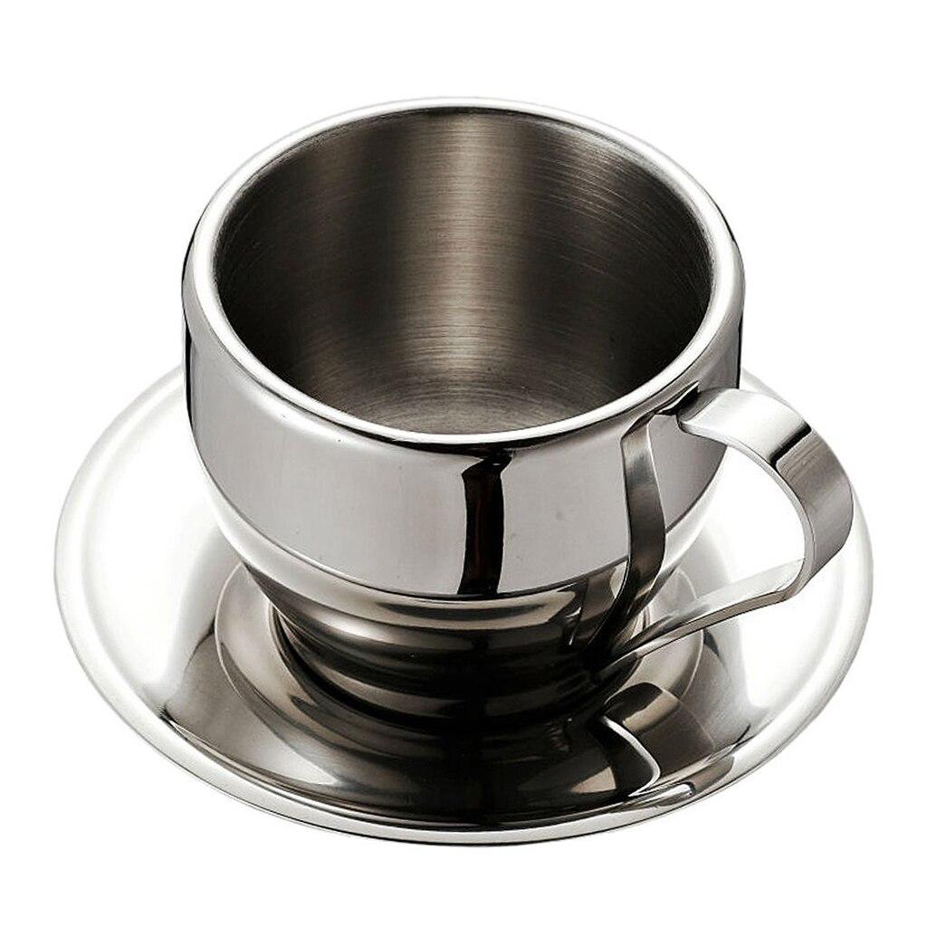 Stainless Steel Coffee Cups Set / Coffee Set / Tea Cups Set / Tea Set, Coffee Cups with Saucer, double-deck