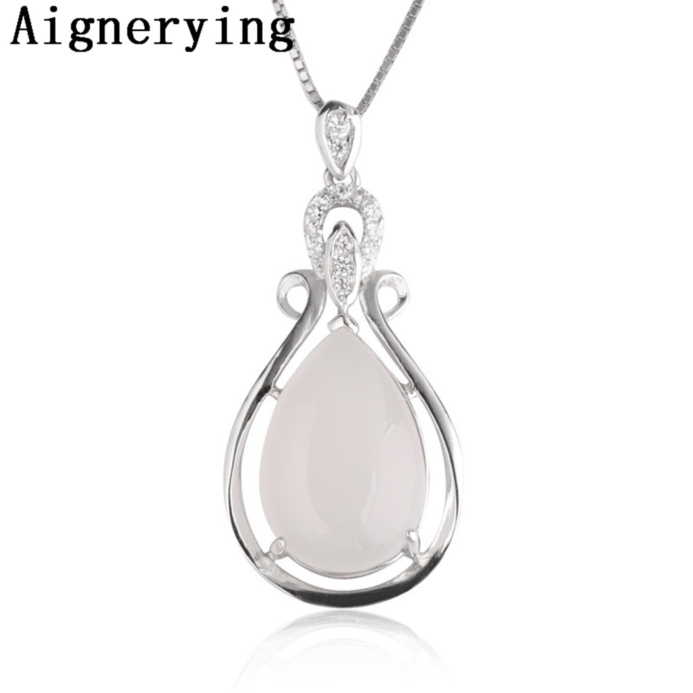 Collier certificat naturel pendentif incrusté collier jade 925 argent pendentif Zircon pour les femmes fête cadeau boîte