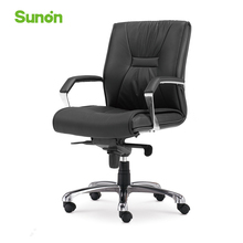 Black Executive Chair Ergonomic Middle Back Boss Chair Soft leather Computer Armrest Chair for Office Company Free Shipping