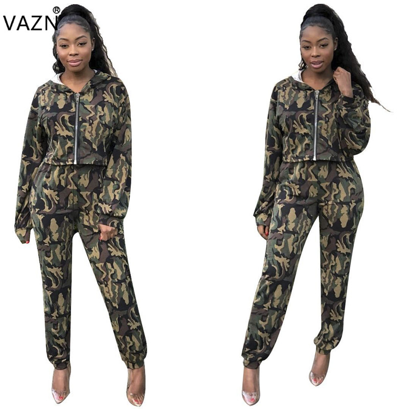 Suits & Sets Women's Clothing Vazn Spring 2019 High Street Casual Style Women 2 Piece Set Camouflage Hooded Full Sleeve Long Pants Tracksuits Slim Set Lm8035