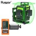 Huepar 12 линий 3D поперечная линия лазерный уровень зеленый лазерный луч самонивелирующийся 360 вертикальный горизонтальный с цифровым ЖК-лазер...