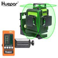 Huepar 12 lignes 3D croix ligne Laser niveau vert faisceau Laser auto-nivelant 360 Vertical Horizontal avec récepteur Laser numérique LCD
