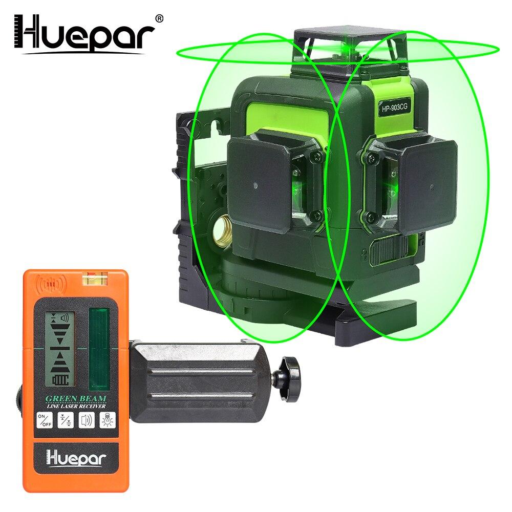 Huepar 12 linhas 3d cruz linha laser nível verde feixe de laser auto-nivelamento 360 vertical horizontal com digital lcd laser receptor