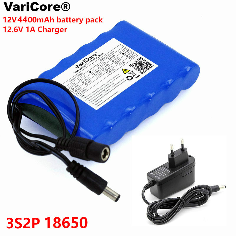 12 V 18650 Ah 4400 mAh 4,4 baterías recargables 12 V batería de iones de litio tarjeta de protección CCTV Monitor batería + cargador de 12,6 V