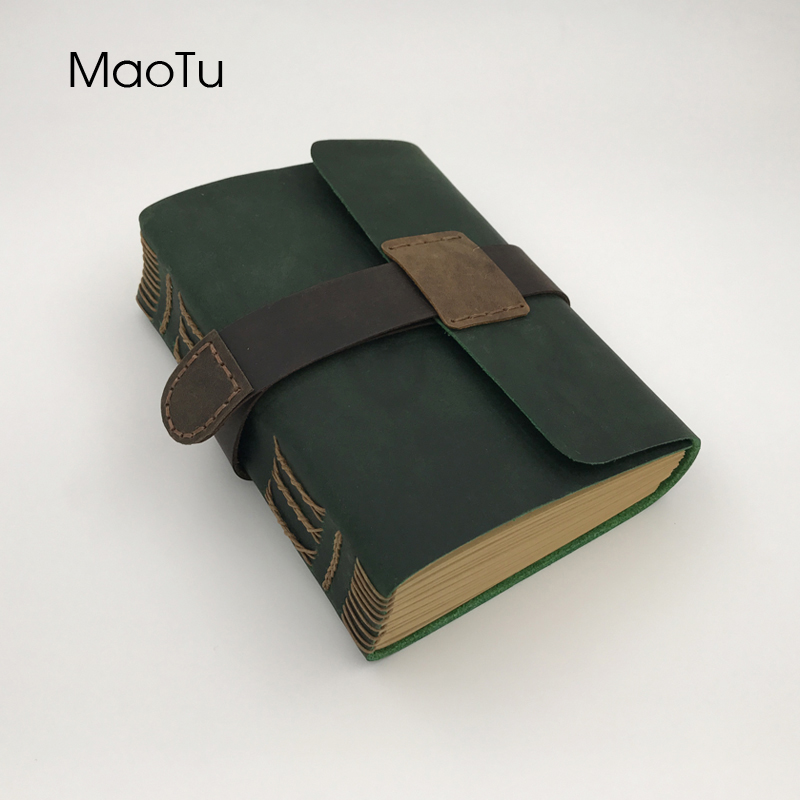MaoTu Antique Genuine Leather Diary Book Kraft Paper Notebook Notepad Journal Handmade Unique Travel Art Birthday