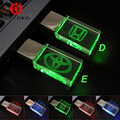 Cristal transparente usb flash drive para honda/toyota logotipo do carro 4 gb 8 GB 16 GB 32 GB Flash USB 2.0 Drive de Memória da Vara Pen/Car unidade