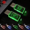 Crystal Transparent USB Flash Drive for Honda/Toyota Car Logo 4GB 8GB 16GB 32GB USB Flash 2.0 Memory Drive Stick Pen/Car Drive