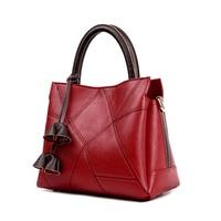 Homeda Women Handbag Tassel Rose Ladies Genuine Leather Women Bag For Teenager Fashion Women Mochila Shoulder