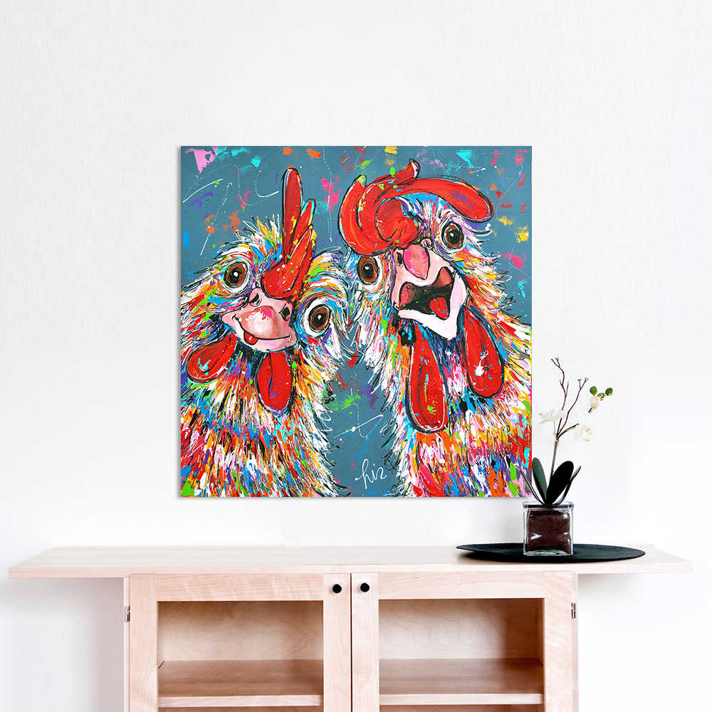 HDARTISAN Vrolijk Schilderij Wall Art Canvas Painting Animal Picture Prints Home Decor Crazy chickens No Frame