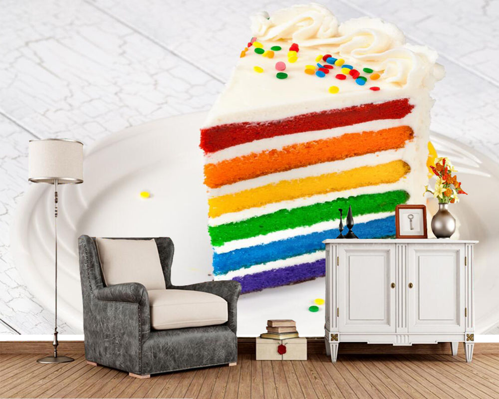 купить Papel de parede Cakes Piece Multicolor Food photo wallpaper,living room TV background sofa wall bedroom restaurant bar 3d mural в интернет-магазине