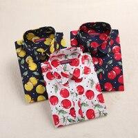 Dioufond New Summer Cherry Famale Blouse Shirt Casual Long Sleeve Women Shirts Turn Down Collar Cotton Women Tops Blusas 2017