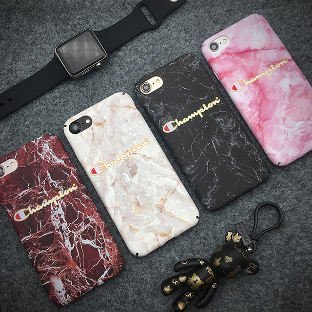 Champion cover case for iphone 6 6S S plus 7 7Plus 8 8plus X marble Camouflage hard plastic PC All-inclusive cases funda capa