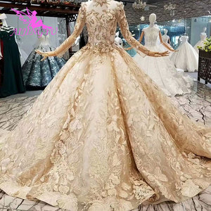 Image 4 - AIJINGYU Satin Wedding Dresses Train Gowns Sexy engagement Bride Couture Bridals Sequin White Ball Gown Nova Wedding Dress