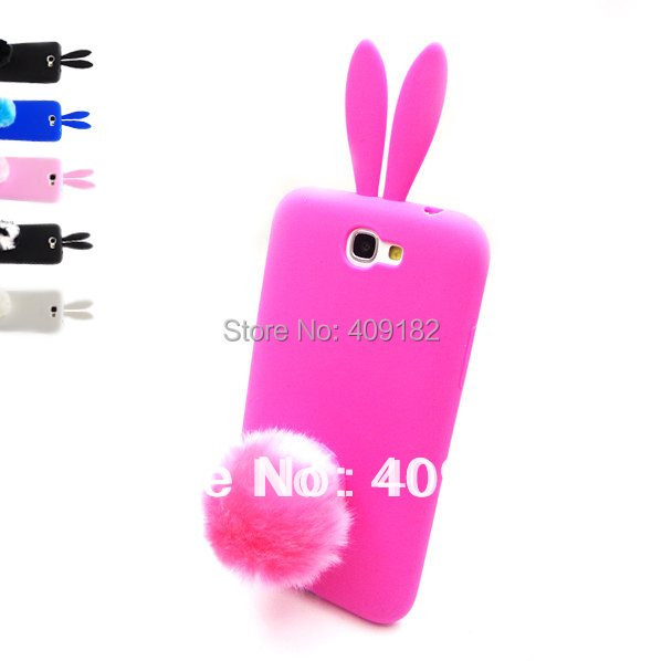 Kawaii Lovely Hot Silicon Rabbit with Stand Holder Soft Back Case Cover for Samsung Galaxy Note 2 II N7100 Phone Cases
