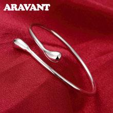 925 argent Simple lisse goutte d'eau bracelet pour femmes Bracelets de manchette et Bracelets de mariage fête bijoux cadeaux